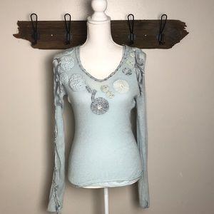 Anthro Moth Angora Sweater Embellished Ribbons